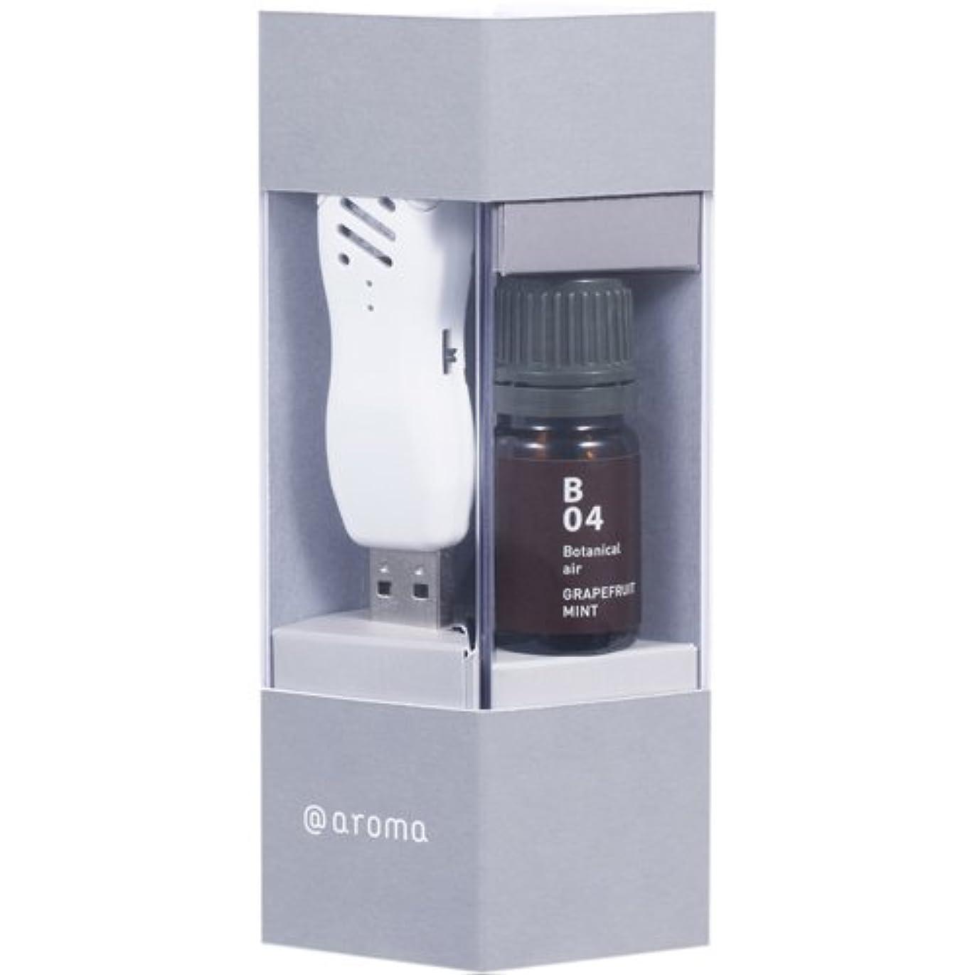 領事館基本的な扇動するUSB aroma time(USBアロマタイム) セット(B04 グレープフルーツミント) 本体+エッセンシャルオイル