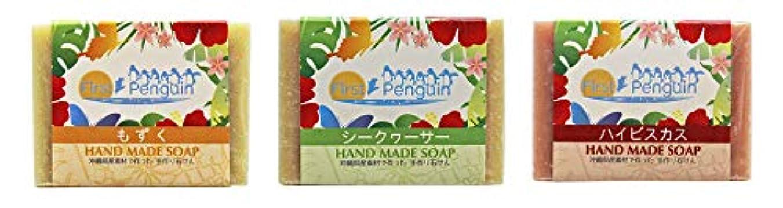 セマフォ仮定質素な手作り洗顔石けん (もずく、シークヮーサー、ハイビスカス)