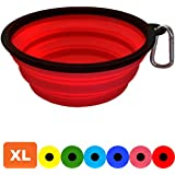 Zenify Dog Bowl - Extra Large 1000ml Collapsible Foldable Food and Water Feeder Dish - Portable Travel Leash Lead Slim Accessories for Training Pets Puppy Dogs (7 inches / 17.8 cm) (Red XL)