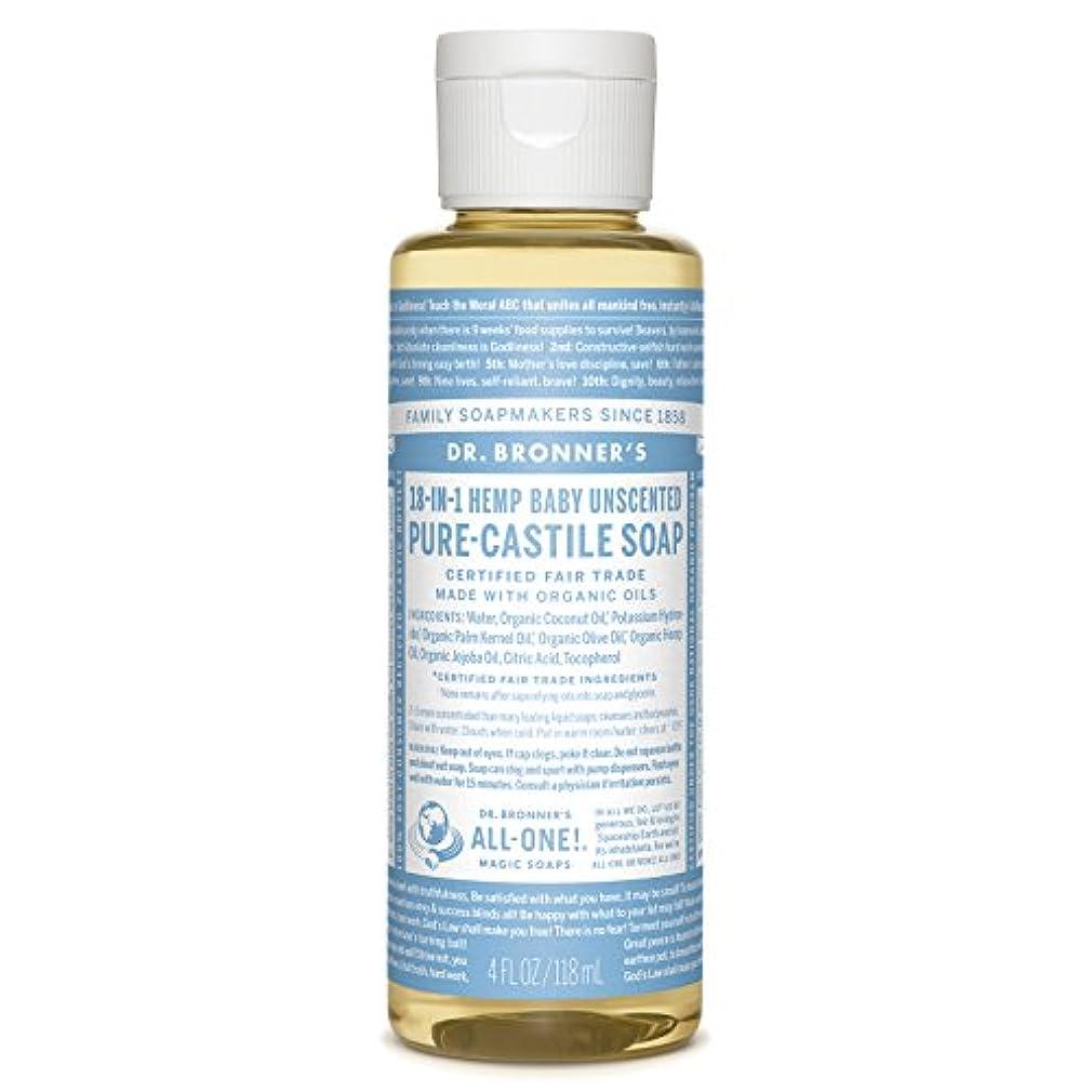 科学的カッタースリッパドクターブロナーズマジック石鹸ピュアカスティーリャ石鹸、18-IN-1麻、無香料ベビーマイルド、4液量オンス(118ミリリットル)