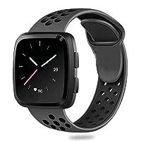 treasuremax for Fitbit Versaバンド、交換用アクセサリー通気性スポーツストラップwith Air穴for Fitbit Versa Smartwatch L