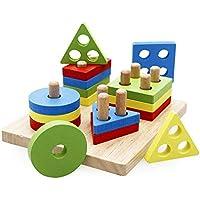 Ddtuch 16個 ブロック カラフル ソーティング ボード ブロックセット デザイン 形状 数学 木製 モンテッソーリ キッズ ギフト
