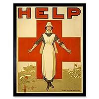 Souter WWI War Nurse Red Cross Australia Help Advert Art Print Framed Poster Wall Decor 12x16 inch 戦争クロスオーストラリア広告ポスター壁デコ