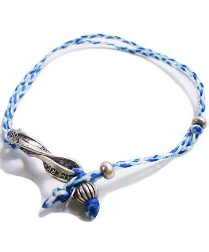 メンズ メッシュ サーフ アンクレット マリン スタイル 足用ブレスレット ミサンガ 男女兼用 (SAX/BLUE(サックス/ブルー))