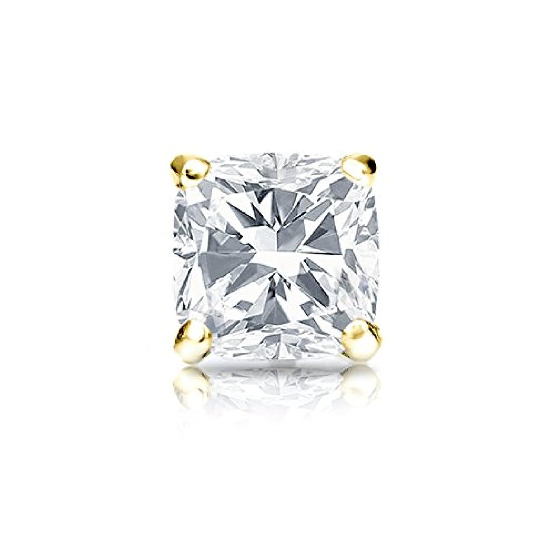 屋内アクセスできない発掘する18 Kイエローゴールド4プロングMartiniクッションダイヤモンドシングルスタッドイヤリング( 1 / 4 – 1 CT、Oホワイト、i1 - i2 ) screw-back
