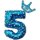 Conijjwaバルーン 風船 数字 誕生日 風船 数字ウェディング パーティー お祝い ゴールド 飾り物アルミブルーバルーン パーティー用品