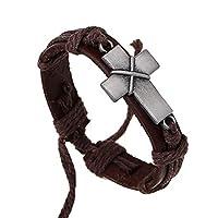 MORE FUN ヴィンテージ合金 十字架編組ロープレザーバングル ブレスレット