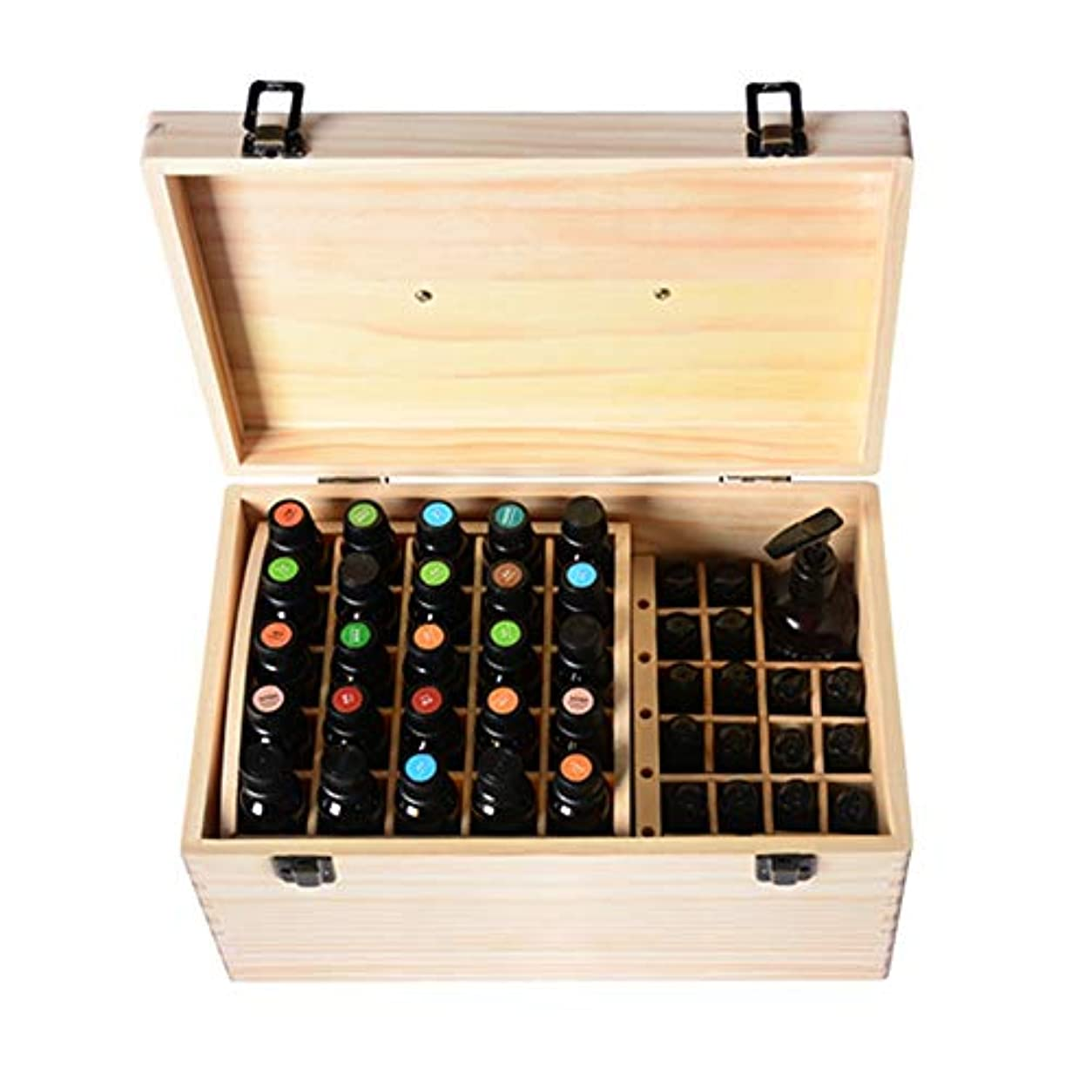 ばかげているジョージバーナード遡るエッセンシャルオイルボックス リムーバブル、15/10ミリリットルボトルの天然パインウッドスロット74オイルタンク収納ボックス アロマセラピー収納ボックス (色 : Natural, サイズ : 35X20X16.5CM)
