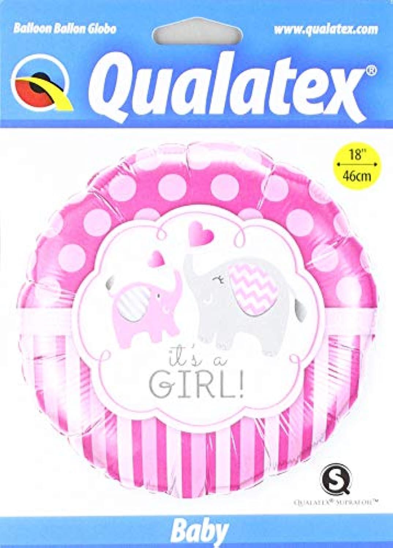 Qualatex 18 Inch Round Foil Balloon - Its A Girl Elephants