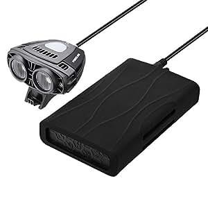 Poweradd 自転車ライト ヘッドライト IPX-5防水規格 超高輝度 1600ルーメン 強/弱/フラッシュモード アプリでモードを調整可能 12000mAhモバイルバッテリー付き 携帯等のデバイスに充電可能