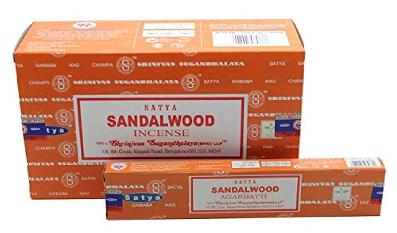 刃酒ジャグリングSatya Bangalore (BNG) サンダルウッド (オレンジボックス) お香スティック 12箱 x 15g (合計180グラム)