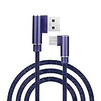Chercherr ケーブル アルミ合金 麻ロープ マイクロUSB ナイロン 強力 編組ロープ 充電ケーブル 直角 ユニバーサル データ同期 充電コード 携帯電話用 (3M) 3M