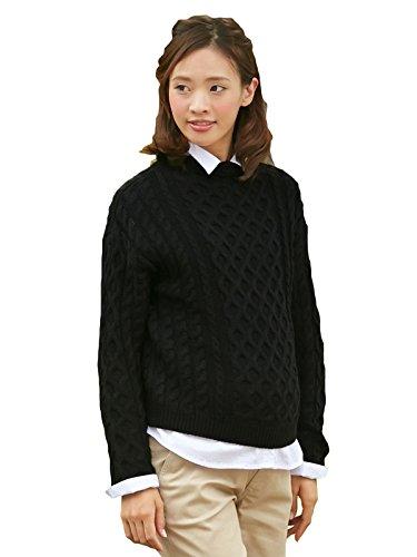 [해외]Angeliebe 엔제리베 케이블 편보고 병 넥 니트/Angeliebe Angelbe cable knitted bottle neck