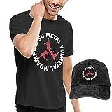 BABYMETAL ベビー メンズ Tシャツ+キャップ(2点セット) トレーニングウェア ナビドライ Tシャツ半袖 プリント 丸首 男性 スポーツウェア 吸汗速乾 通気性 カジュアル