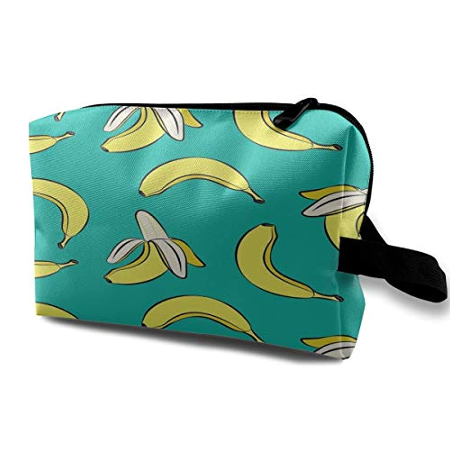 革命違反恐竜Bananas On Green 収納ポーチ 化粧ポーチ 大容量 軽量 耐久性 ハンドル付持ち運び便利。入れ 自宅?出張?旅行?アウトドア撮影などに対応。メンズ レディース トラベルグッズ