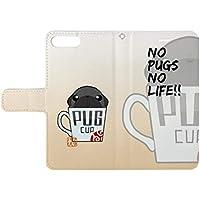 【PUGBIIKI】【iphone】パグカップ?マグカップ(黒パグ)両面印刷手帳型ケース (iphoneXs)