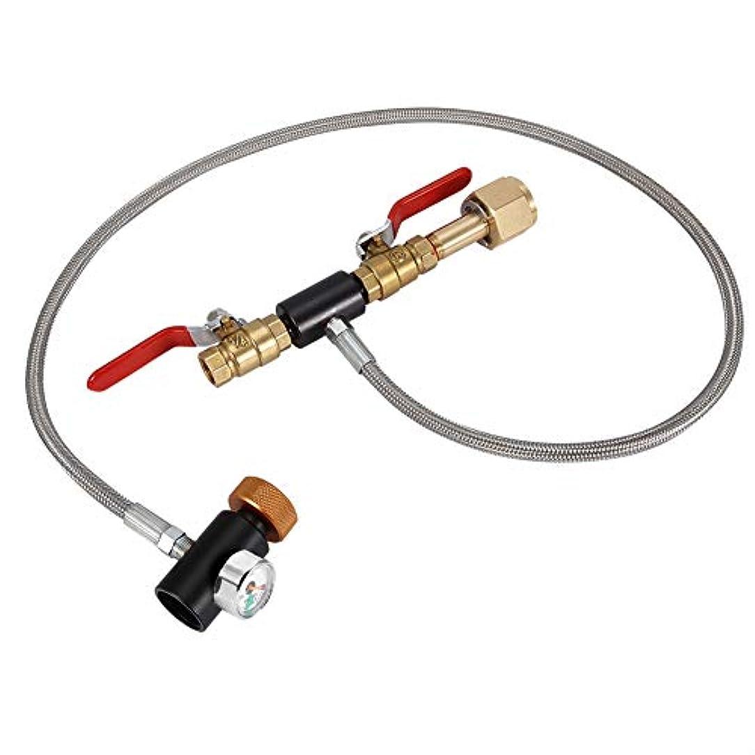 ガイド電話をかけるボトル充填ソーダストリームタンク用ホース付きG1 / 2 CO2シリンダー詰め替えアダプターボトルコネクタCO2タンクソーダメーカーアクセサリー(36インチゲージ)