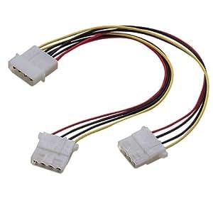 ELECOM 内部電源分岐ケーブル 4Pコネクタ大オス×1-4Pコネクタ大メス×2 0.195m KT-LLL