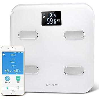 体組成計 体脂肪体重計 YUNMAI スマートスケール 10種類データ測定 Bluetooth対応 高精度 健康管理 16人分登録可 自動認識 日本語アプリiPhone Androidスマホ対応 日本語取扱説明書 ホワイト