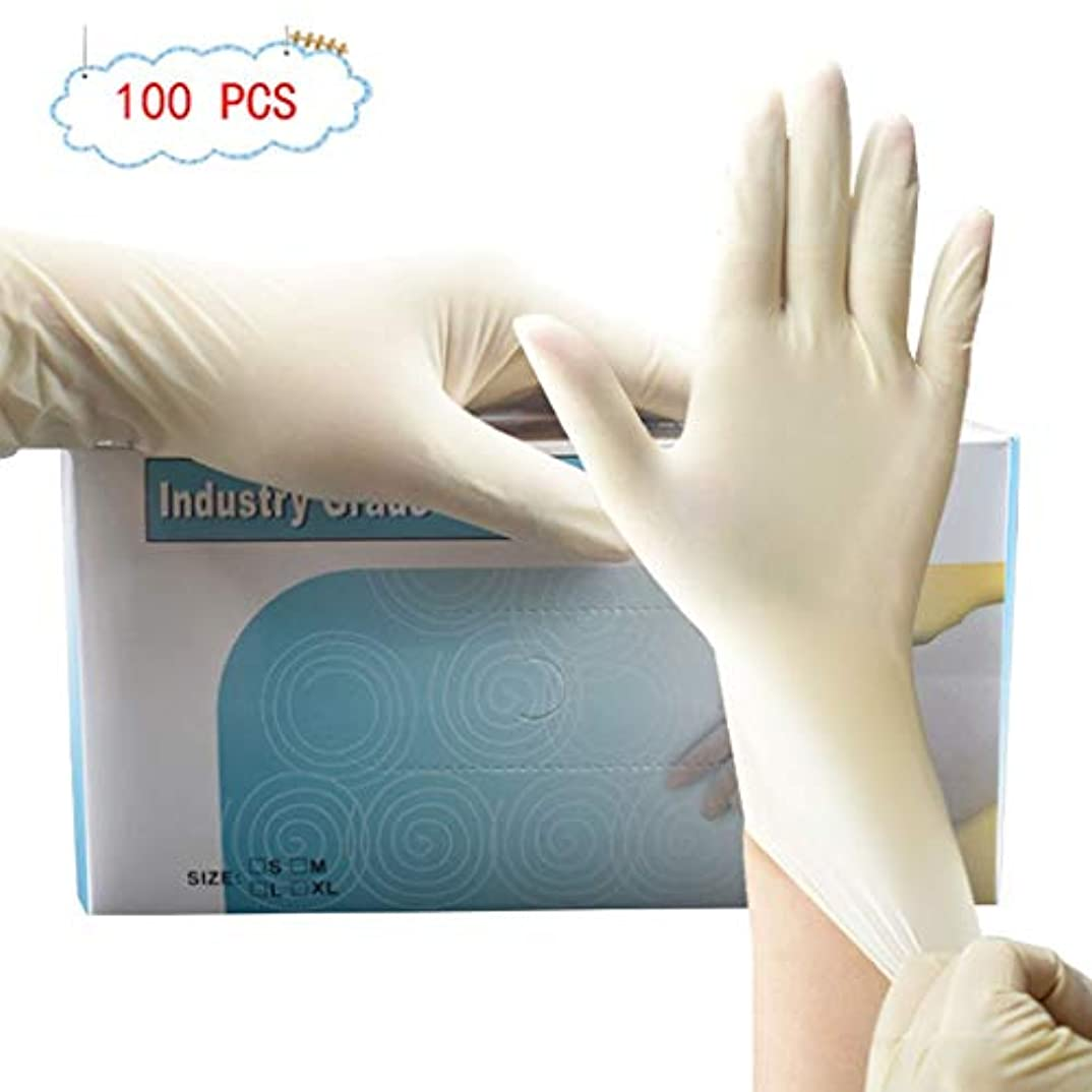 チップ有名な器具使い捨て外科太いラテックス手袋パウダーフリーダストフリーゴム手袋手袋デューティ検査用手袋 病院のための専門の等級 (Color : 9 inch, Size : S)