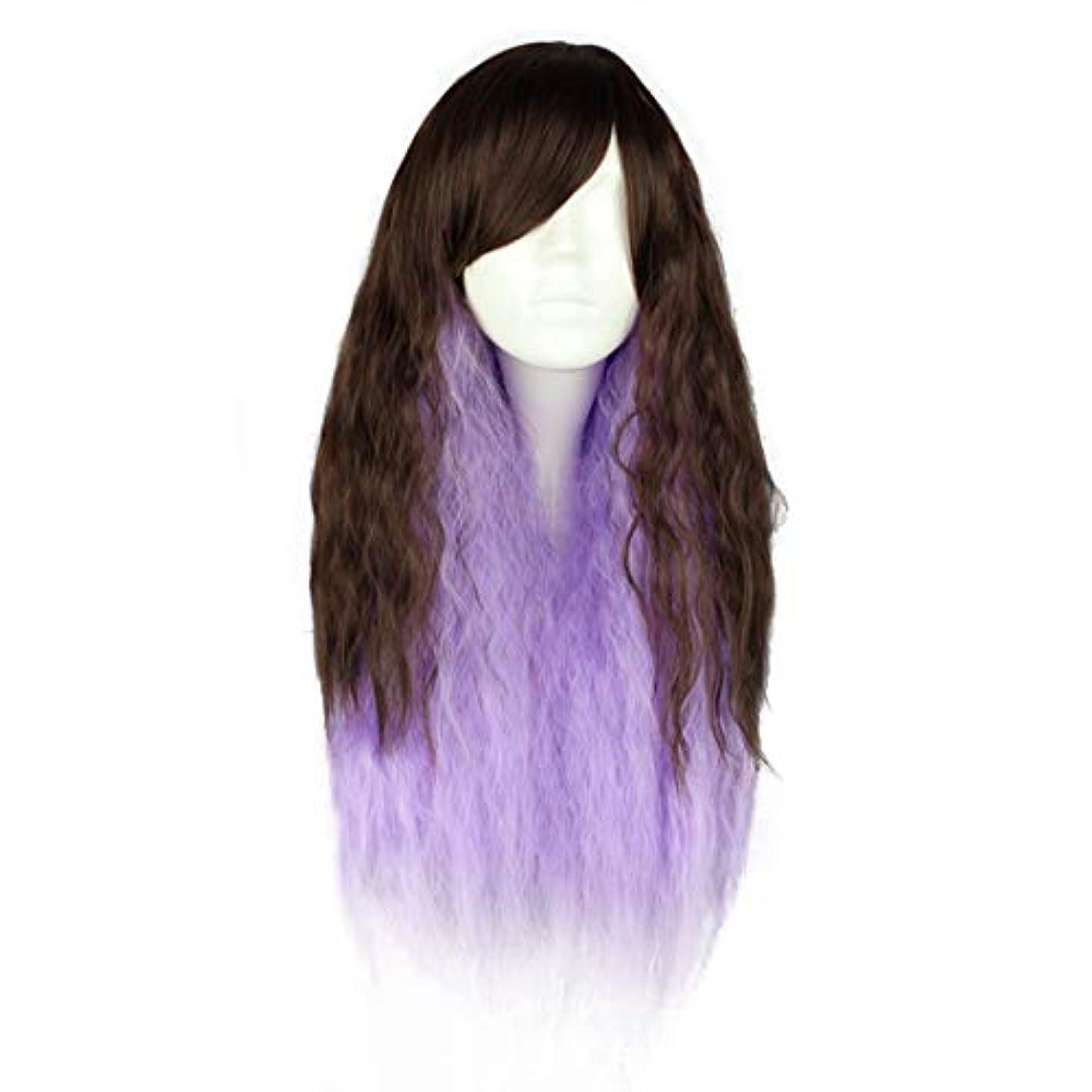 たまに対処する精巧なJIANFU 原宿スタイル超かわいいロリータウィッグコスプレウィッグ (Color : Purple gradient)