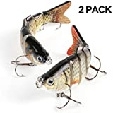 Scotamalone Fishing Bass Lures, 2 Pack, 6 Segment, Tackle 6# High Carbon Steel Anchor Hook, Lifelike Multi Jointed Artificial Swimbait, Hight Quality Hard Bait, 10cm/19g
