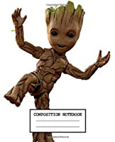 Composition Notebook: Guardians of the Galaxy Funny Groot Soft Glossy Cover Wide Ruled Lined Pages Book 7.5 x 9.25 Inches 110 Pages