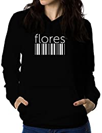 Flores barcode 女性 フーディー