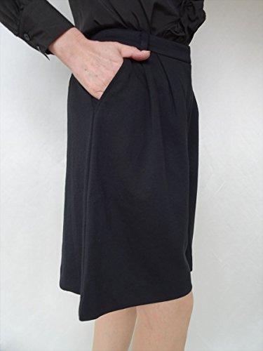 D&L co.ltd(ディーアンドエル) ワイド フレアー ストレッチ キュロット パンツ スカート ブラック 大きいサイズあり (M, ブラック)