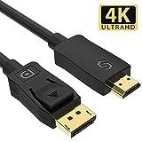 【改善版】Syncwire DisplayPort-HDMI変換 ケーブル 【最大36か月保証 相性保証付】 4K解像度対応 4K 30Hz ディスプレイポート to HDMIケーブル 音声対応 金メッキ (1.5M)