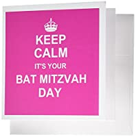 InspirationzStore – Keep Calm Its Your Bat Mitzvah Day – ホットピンクテキスト – ユダヤGirls 12歳誕生日Encouragement – グリーティングカード Set of 12 Greeting Cards