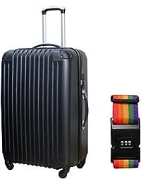 DABADA(ダバダ) スーツケース キャリーバック 超軽量 TSAロック搭載 エンボス加工 機内持込 ファスナー開閉式 ABS素材 S M Lサイズ 全8色 スタンダードベルト付