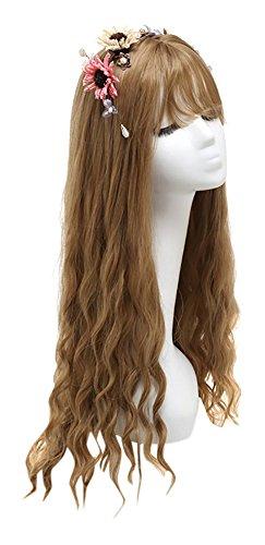 ウィッグ ロング フルウィッグ ゆるふわ 甘め カール 巻き髪 高品質 耐熱 仕様 (ヘアネット 3枚 付き) (ブラウン)