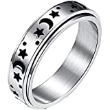 Timetries01 Titanium Stainless Steel Spinner Rings, Moon and Star Fidget Ring Stress Relieving Anxiety Ring Engagement Weddin