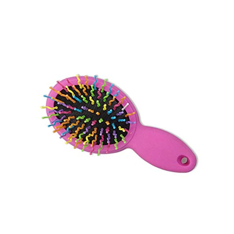 モルヒネパリティ下に向けますヘアーコーム ポータブル小さなプラスチックのヘアカラーの櫛美しい曲線歯のトラベルコーム男性&女性 - 成長を促進するパドルブラシ 理髪の櫛 (色 : ピンク)
