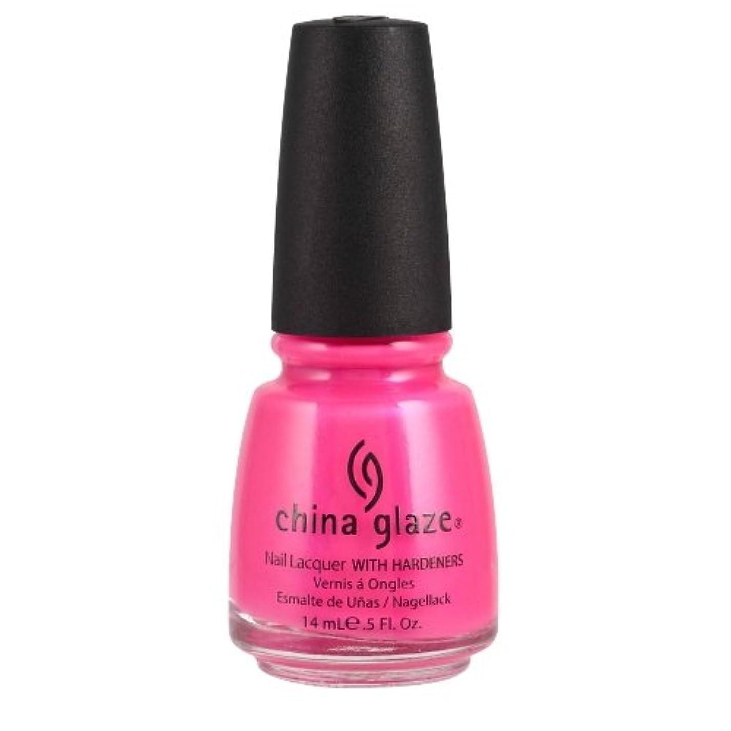 コットンアルネ物理学者CHINA GLAZE Nail Lacquer with Nail Hardner - Pink Voltage Neon