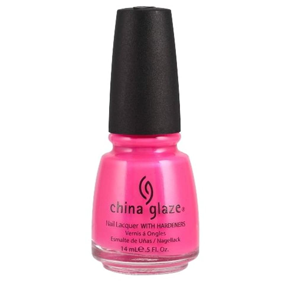 チャット合図同化CHINA GLAZE Nail Lacquer with Nail Hardner - Pink Voltage Neon