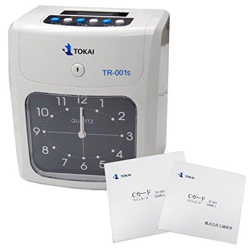 安心の日本メーカー TOKAI 新品タイムレコーダー タイムカード レコーダー 本体 TR-001s 6欄印字可能 両面印字モデル タイムカード200枚付き 設定が簡単! 一年保証