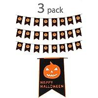 (POMAIKAI) ハロウィン 飾り フラッグガーランド フェルト かぼちゃ 魔女 コウモリ 屋外 屋内 3つセット ( かぼちゃ )