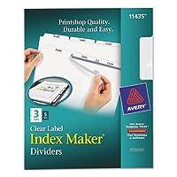 インデックスメーカークリアラベルディバイダー、3-tab、手紙、ホワイト、5セット、合計10pk , Sold as 1カートン