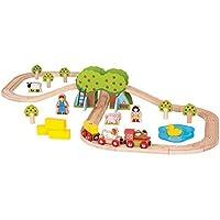 Bigjigs Rail Wooden Farm Train Set - 44 Play Pieces [並行輸入品]