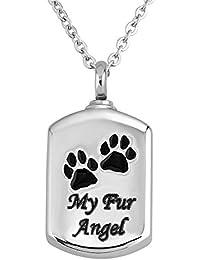 Charmsstory犬Memorial Cat Memorial MyファーAngelペットPaw Urnネックレス鋼火葬記念品灰ペンダント