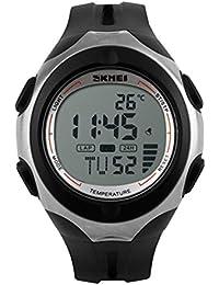 シンプル軍はデジタルsoprtsは男性発光目覚まし時計、ストップウォッチのシリコーンの腕時計を監視主導しました