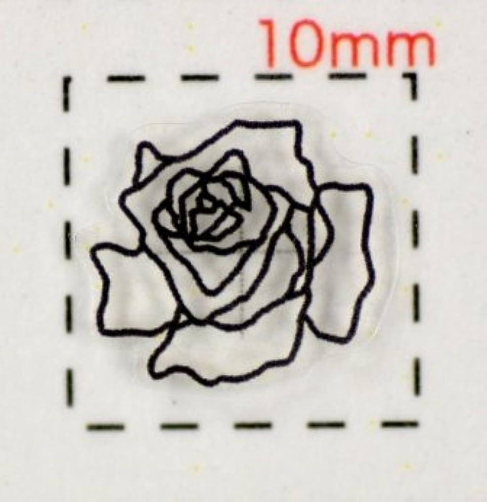 遺産葡萄航空便【バラ?薔薇ネイルシール】(6)透明&ブラック/1シート9枚入