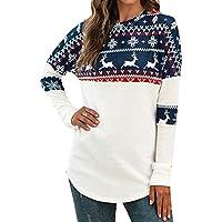 Macondoo Women Casual Printed Reindeer Xmas Long-Sleeve Blouse Pullover T-Shirt Top Tee