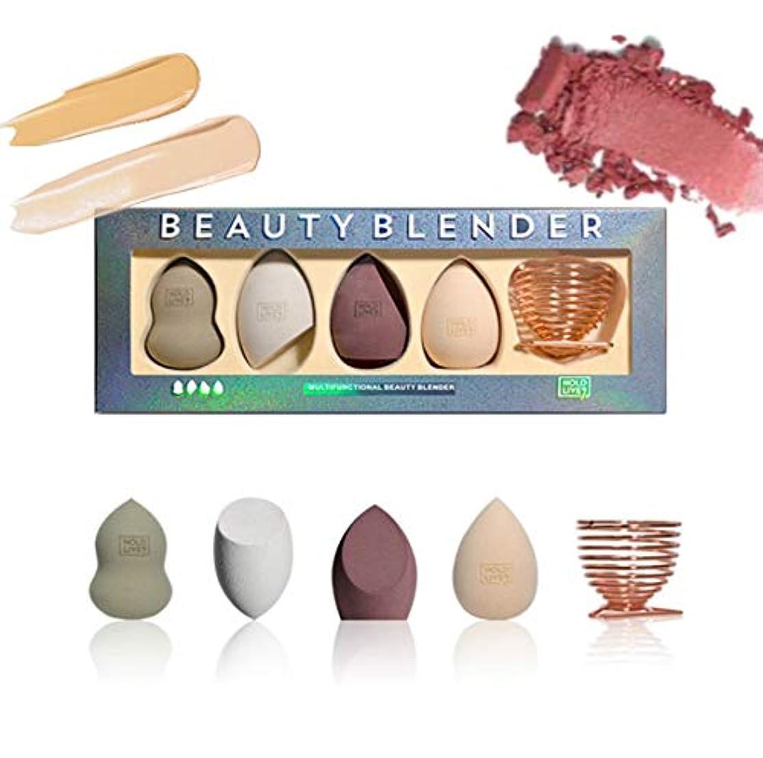 精査思いやり可動4本 Beauty Makeup Sponge Blender ビューティーブレンダー 収納ホルダー付き