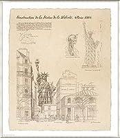 ポスター イヴ ポワンソ 自由の女神、パリ 額装品 アルミ製ベーシックフレーム(ライトブロンズ)