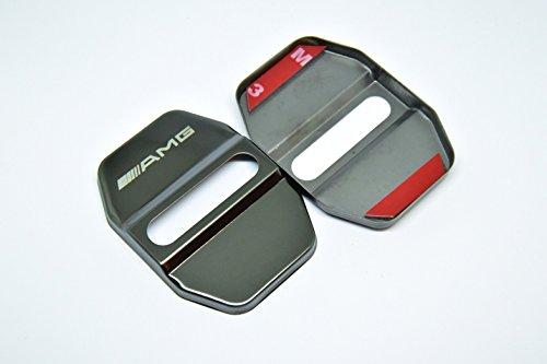 《タイムセール》 メルセデスベンツ ストライカー カバー ブラックメタリック色 ドアロック カバー 鏡面ステンレス AMGロゴ 4個セット (一台分) 【輸入品】 黒
