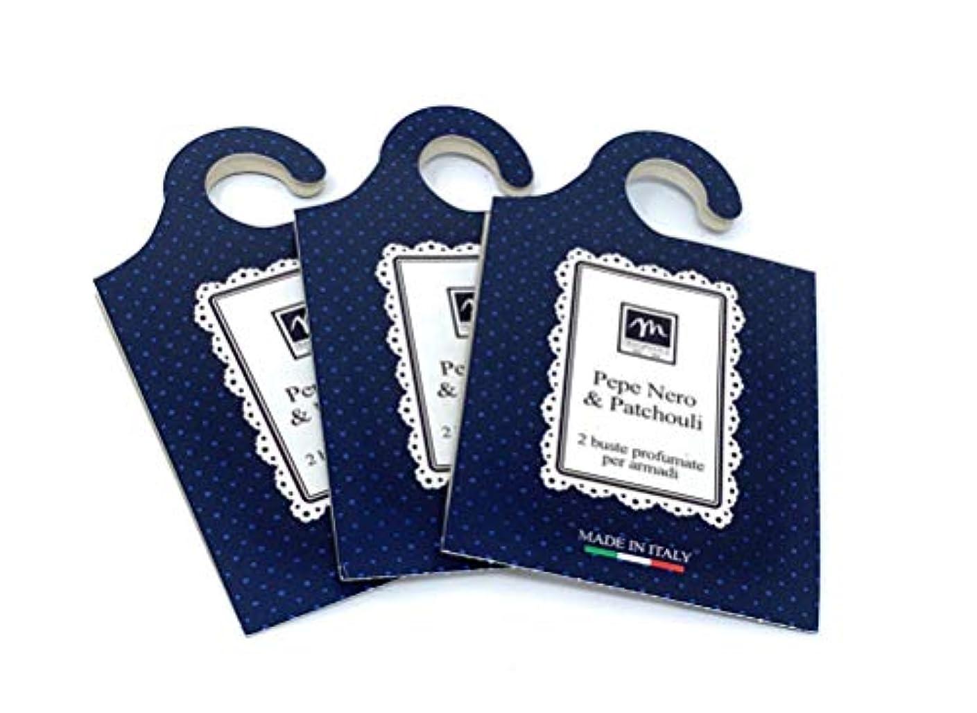 雇ったメーカーバターMERCURY ITALY 吊り下げるサシェ(香り袋) MAISON イタリア製 ペパー&パチョリの香り/Pepe Nero & Patchouli 2枚入り×3パック [並行輸入品]