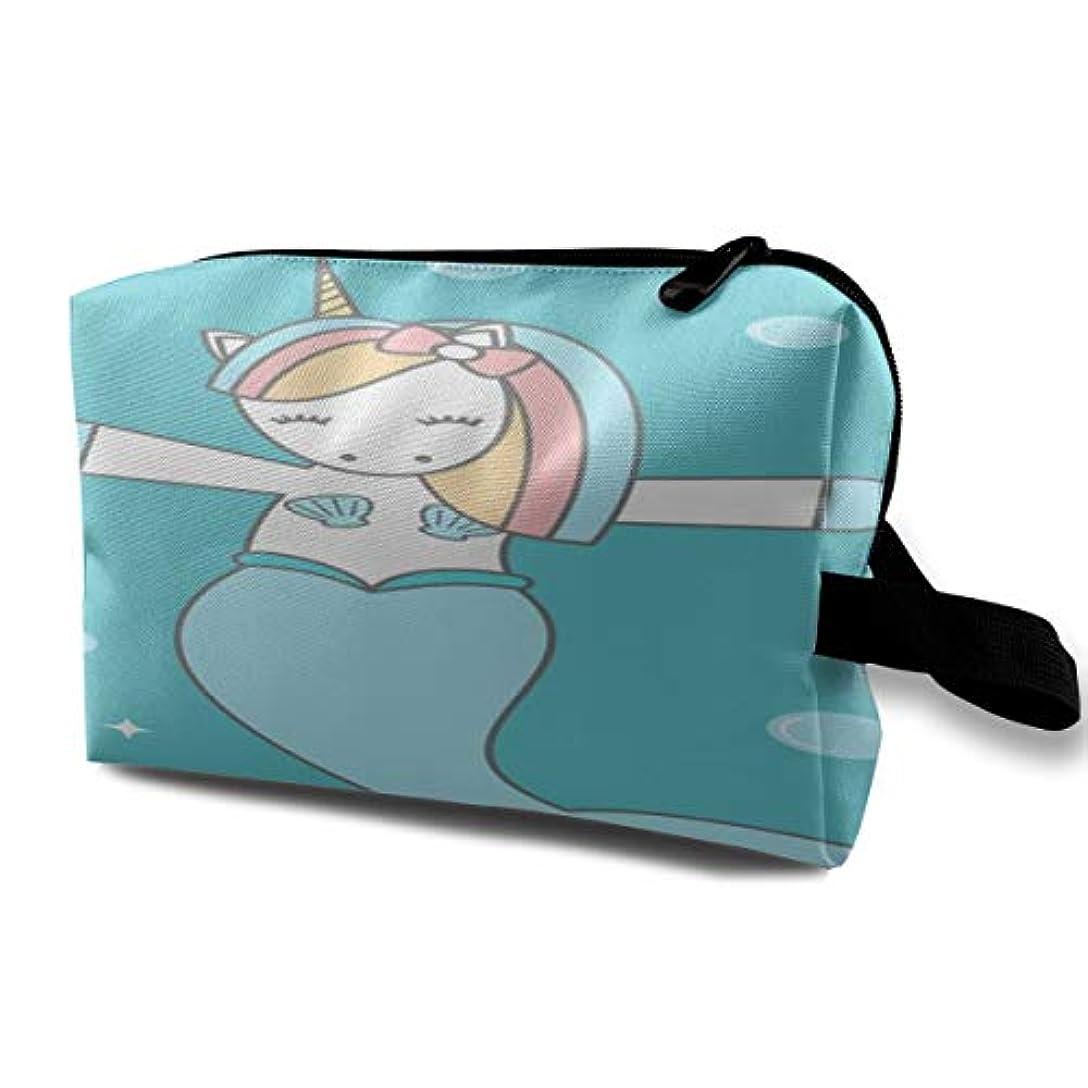 ディプロマ声を出して時々Mermaid Unicorn Girl 収納ポーチ 化粧ポーチ 大容量 軽量 耐久性 ハンドル付持ち運び便利。入れ 自宅?出張?旅行?アウトドア撮影などに対応。メンズ レディース トラベルグッズ